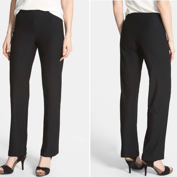 Eileen Fisher Stretch Crepe Straight Black Pant Mid Rise Size Petite L $168